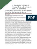 Discurso Del Gobernador de Jalisco, Aristóteles Sandoval, Durante El Informe Del Rector de La Universidad de Guadalajara, Tonatiuh Bravo Padilla y El Gobierno Del Estado de Jalisco