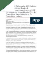Ceremonia Conmemorativa Por El XXX Aniversario Del Nuevo Hospital Civil de Guadalajara Juan I Menchaca. en Guadalajara, Jalisco.