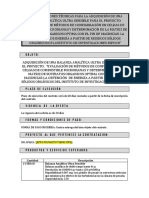 Especificaciones Técnicas Balanza Analítica
