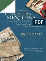 Programa del Primer Congreso Internacional Literatura de Literatura Mexicana 2018