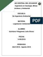Julio Eliceo Quintana Villagomez Trabajo Legislacion Ambiental Carrera Ingenieria Ambiental