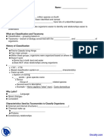 Taxonomy and Classification - Introductory Biology - Quiz PDF