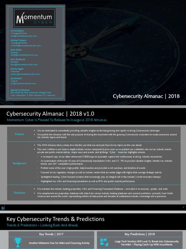 2018_Cybersecurity_Almanac-1 pdf | Computer Security