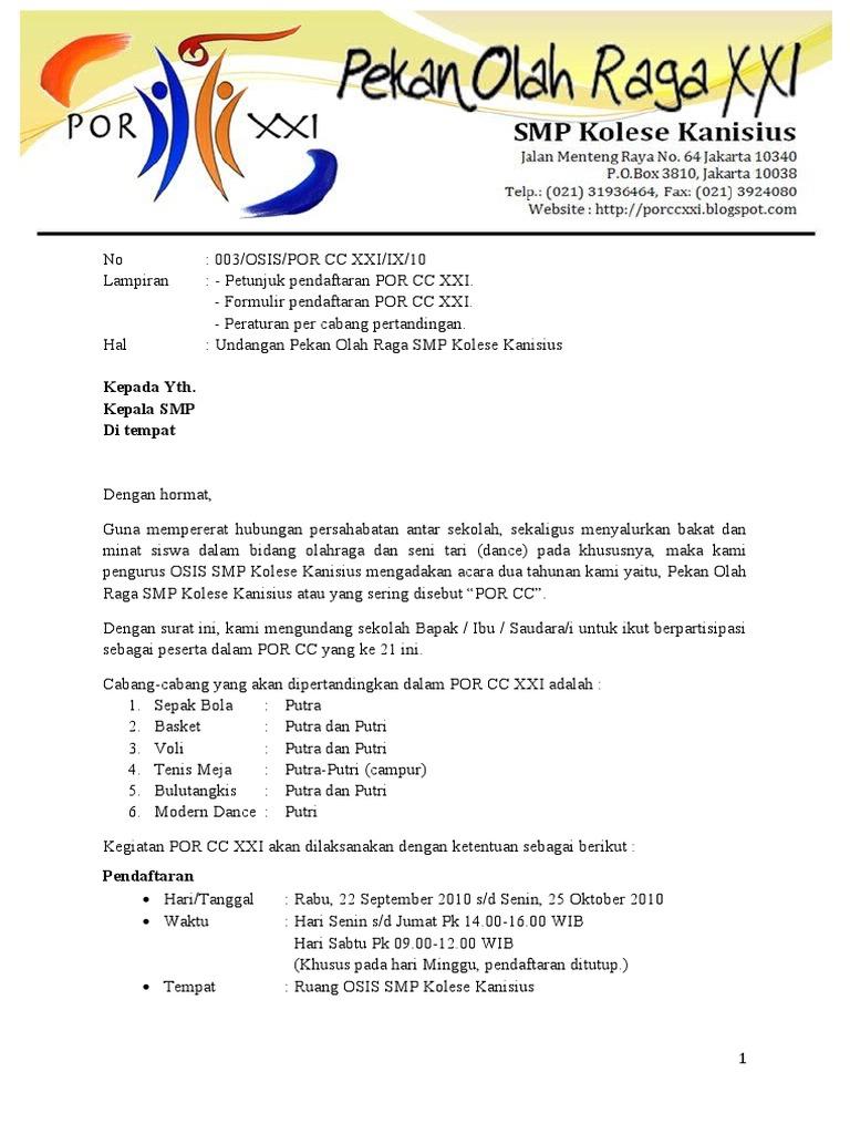 Contoh Surat Osis Smp