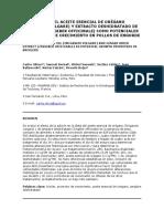 Evaluación Del Aceite Esencial de Orégano (Origanum Vulgare) y Extracto Deshidratado de Jengibre (Zingiber Officinale) Como Potenciales Promotores de Crecimiento en Pollos de Engorde
