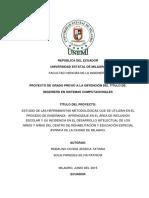 Estudio de Las Herramientas Metodológicas Que Se Utilizan en El Proceso de Enseñanza - Aprendizaje en El Área de Inclusión Escolar y Su Incidencia en El Desarrollo Intelectual de Los