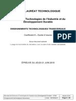 Bac Sti2d 2018 Sujet Enseignements Technologiques Transversaux