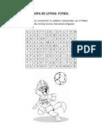 Sopa de Letras Palabras Relacionadas Con El Fútbol