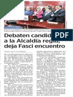 17-06-18 Debaten candidatos a la Alcaldía regia; deja Fasci encuentro