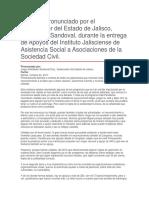 Apoyos Del Instituto Jalisciense de Asistencia Social a Asociaciones de La Sociedad Civil