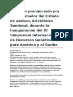 Inauguración Del XI Simposium Internacional de Recursos Genéticos Para América y El Caribe