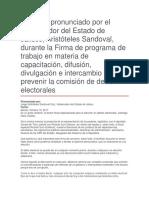 Firma de Programa de Trabajo en Materia de Capacitación, Difusión, Divulgación e Intercambio Para Prevenir La Comisión de Delitos Electorales