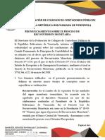 Fccpv, Comunicado Reconversión, 05-2018