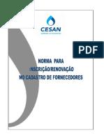 CESAN - Instruções Para Cadastramento de Fornecedores