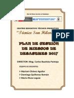 Plan de Gestion de Riesgos y Desastres Naturales Cetpro Tecnico San Hilarion