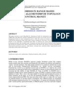 A Transmission Range Based Clustering Algorithm for Topology Control Manet