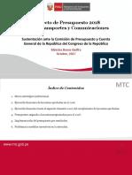 PROYECTO DE PRESUPUESTO DEL MTC PARA EL AÑO 2018