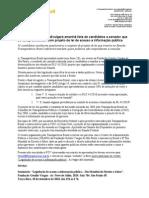Transparência Brasil divulgará amanhã lista de candidatos a senador que se comprometeram com projeto de lei de acesso a informação pública