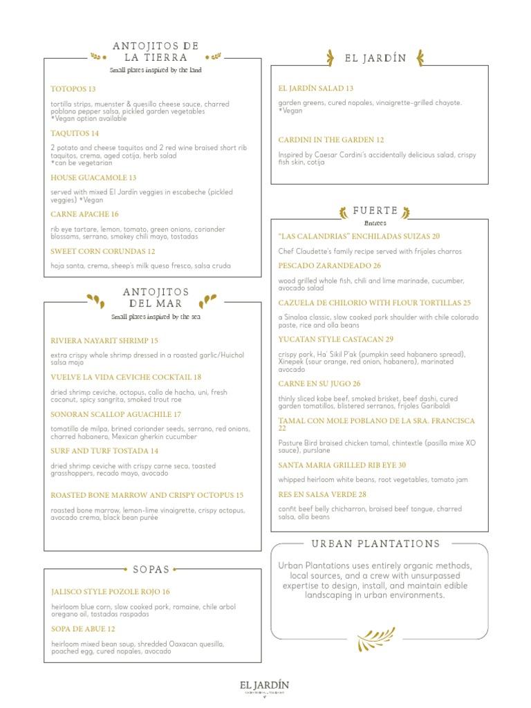 El Jardin Menu | Mexican Cuisine | Food & Wine