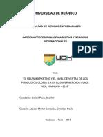 Neuromarketing y el nivel de ventas de los productos Gloria S.A en el supermercado Plaza Vea, Huánuco - 2018