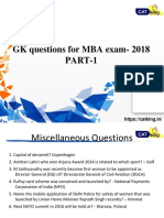 GK questions for mba exam (2018)- PART 1