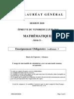 Épreuve de mathématiques S obligatoire