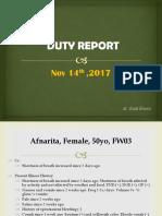 Duty Report, Afnarita (Dr. Rudi)
