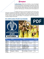 ICC Cricket World Cup 2019 Schedule - Khojdeal