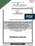 Directiva N° 008-2018-CG/GTN Transferencia de la Gestión Administrativa de los Gobiernos Regionales y Gobiernos Locales