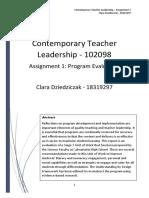 contemporary teacher leadership - assessment 1 - clara dziedziczak