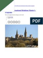 The Best International Relations Master's Programs