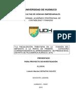 Evasión de Impuestos de La Renta de Primera Categoria en el Distrito de Pillco Marca Huánuco 2018