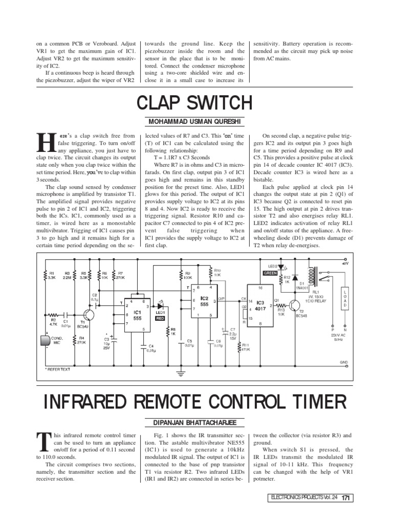 Clap Switch Electrical Components Electronics 555 Ic Timer Control Relay