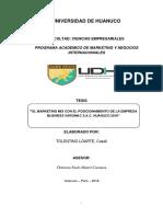 """""""EL MARKETING MIX CON EL POSICIONAMIENTO DE LA EMPRESA BUSINESS VAROMAC S.A.C. HUÁNUCO 2018"""""""