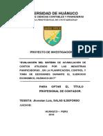 Evaluación Del Sistema de Acumulación de Costos Utilizado Por Las Industrias Panificadoras , En La Planificacion, Control y Toma de Decisiones Durante El Ejercicio Economico, Huánuco-2017