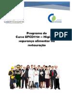Curso UFCD7731 – Higiene e Segurança Alimentar Na Restauração