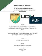 DESARROLLO DEL CICLOTURISMO Y SU APORTE AL TURISMO SOSTENIBLE EN EL DISTRITO DE TOMAY KICHWA 2018