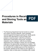 Procedures in Receiving and Storing Tools and Materials