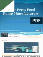 Filter Press Feed Pump Manufacturers