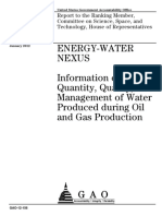 Inf on Quantity Wuality of Prod Water During Oil and Gas Prodc