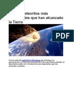 Los 10 Meteoritos Más Impactantes Que Han Alcanzado La Tierra