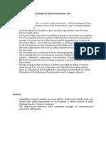 Keynotes for Poster Presentation