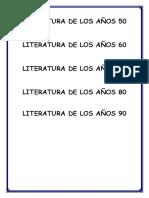 Literatura de Los Años 50