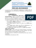 Certificado de Posesion de La Institucion Secundaria Wichaypampa