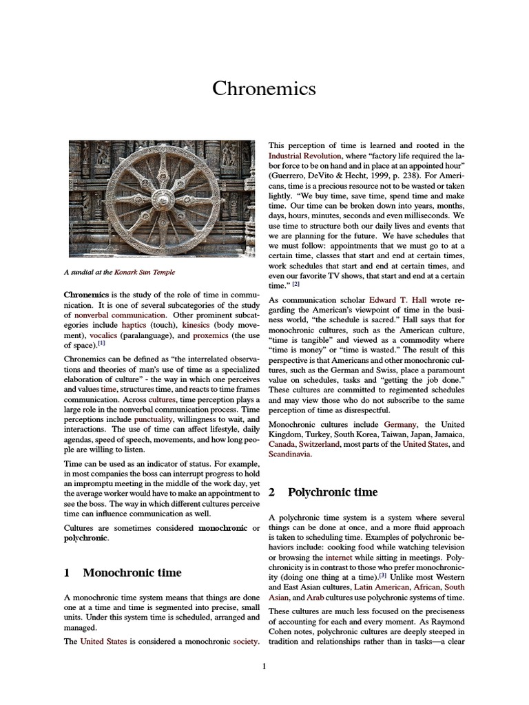Chronemics Pdf Interpersonal Relationships Cybernetics Chronemics is a discipline concerned with the study of a person's use of time. scribd