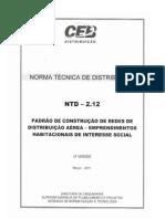 ntd  2.12 - padro de construo de de redes de distribuio area -   empreendimentos habitacionais de interesse social.pdf