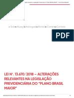 """Lei Nº. 13.670_2018 – Alterações Relevantes Na Legislação Previdenciária Do """"PLANO BRASIL MAIOR"""" – Trench Rossi Watanabe"""