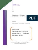 Nota Tecnica N°1 Tecnicas de resolucion de conflictos y modelos de negociacion