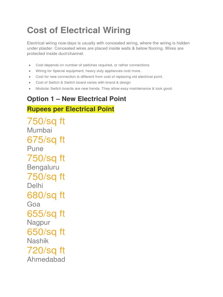 Electrical Wiring Cost Worksheet And Wiring Diagram