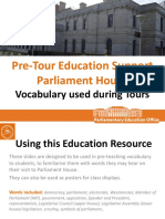 education support   vocabulary  pre tour parliament house